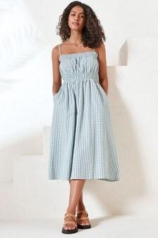 Blue Check Strappy Textured Midi Dress