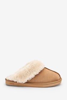 Tan Suede Mule Slippers