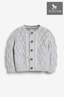The Little Tailor Grey Cable Knit Baby Cardigan
