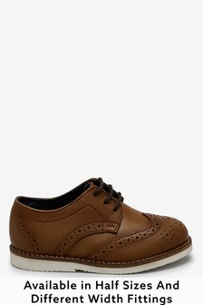 Tan Wide Fit (G) Leather Brogues