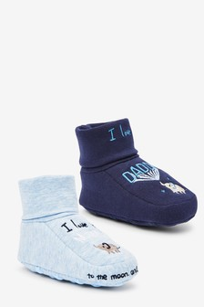 Blue 2 Pack Cotton Rich Slogan Booties (0-18mths)