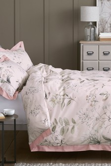 Pink Cotton Sateen Delicate Floral Bed Set