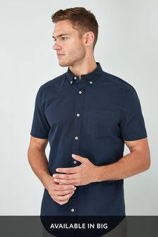 Navy Regular Fit Short Sleeve Oxford Shirt