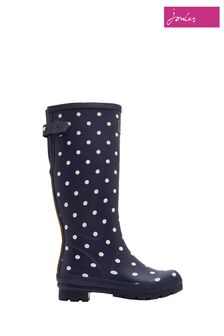 Joules Blue Printed Wellies With Adjustable Back Gusset