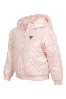Girls Light Pink Hooded Jacket