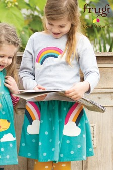 Frugi Organic Cord Skirt With Rainbow And Cloud Appliqué