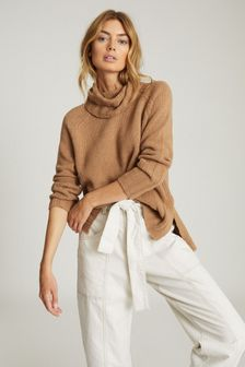 Reiss Tan Eve Wool Cashmere Blend Roll Neck Jumper