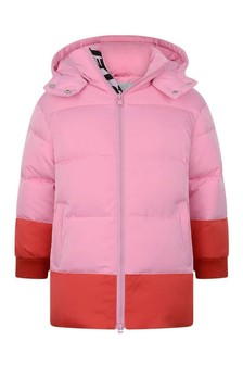 Girls Pink Logo Tape Quilted Jacket