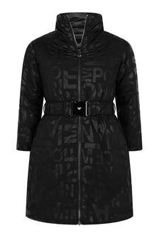 Girls Black Logo Print Coat