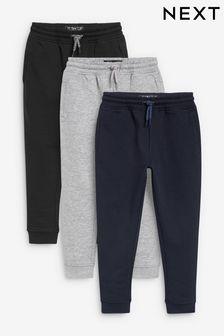 Multi Black Slim Fit 3 Pack Joggers (3-16yrs)