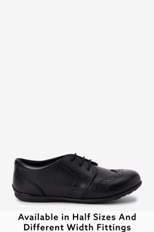 Black Wide Fit (G) Leather Lace-Up Brogues