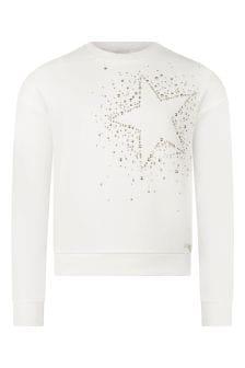 Girls White Cotton Star Sweater