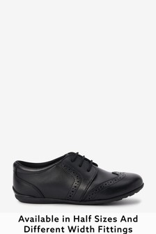 Black Narrow Fit (E) Leather Lace-Up Brogues