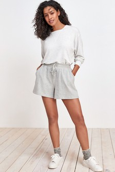 Grey Cotton Towelling Shorts