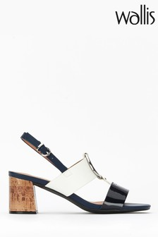 Wallis Spring Navy Circle Trim Block Heel Shoes