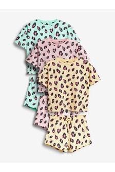 Pink/Turquoise/Yellow 3 Pack Leopard Print Short Pyjamas (3-16yrs)