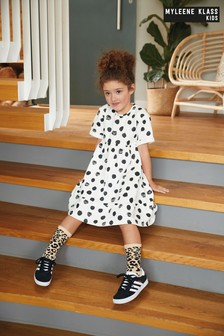Myleene Klass Kids Spot Sweat Tiered Dress