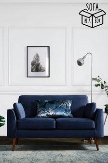 Opulent Velvet Dark Navy Mila 2 Seater 'Sofa In A Box' With Mid Legs