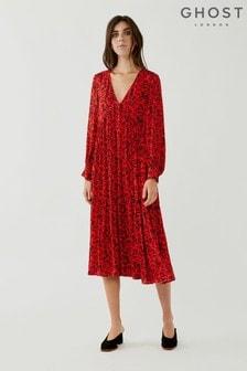 Ghost Angus Botanic Floral Print Crepe Dress