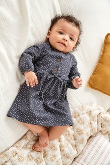 Grey Geo Print Dress (0mths-3yrs)