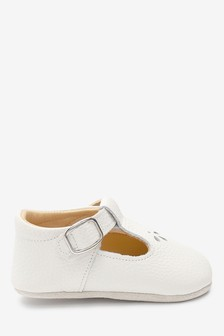 White Leather Little Luxe™ T-Bar Pram Shoes (0-18mths)