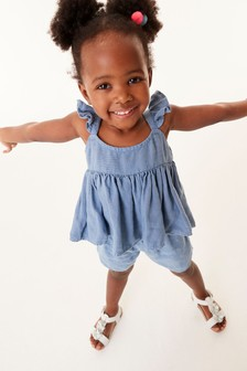 Blue Frill Blouse And Shorts Co-ord Set (3mths-7yrs)