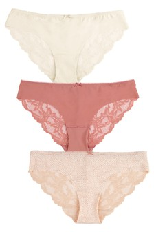 Pink/Coral/Cream Brazilian No VPL Lace Back Briefs Three Pack