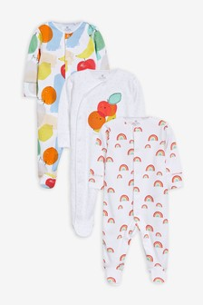 Multi Bright 3 Pack GOTS Organic Fruit Sleepsuit (0mths-2yrs)
