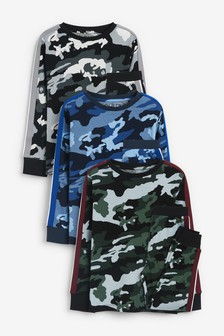 Multi Camouflage 3 Pack Pyjamas (3-16yrs)