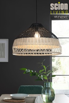 Scion Living At Next Rattan Natural And Blue Easy Fit Shade