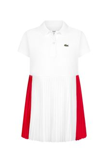Lacoste Kids Girls White Cotton Dress