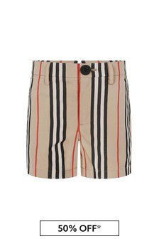 Boys Beige Icon Stripe Cotton Shorts