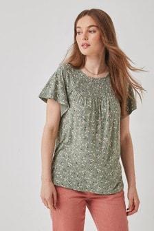 Khaki Floral Short Sleeve Smocked Top
