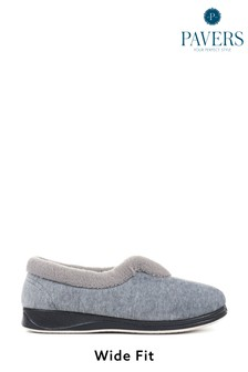 Pavers Grey Ladies Wide Fit Full Slippers