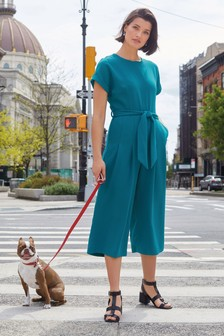 Teal Belted Cropped Jumpsuit