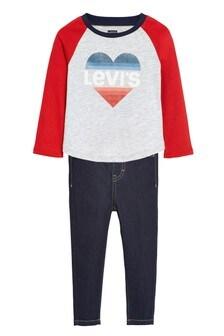 Levi's® Kids Grey Infant Slogan Raglan T-Shirt And Jeans Set