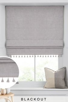 Tassel Edge Blackout Roman Blind