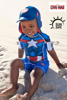 Blue Captain America Sunsafe Swimsuit (3mths-8yrs)