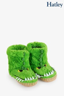 Hatley Kids Green Alligators Slippers