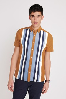 Ochre/Navy Stripe Short Sleeve Pique Shirt