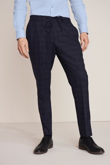 Blue Check Formal Joggers