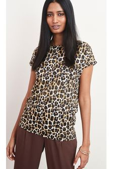Glitter Animal Print Curved Hem T-Shirt
