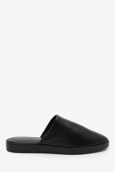Black Leather Leather Closed Toe Mules