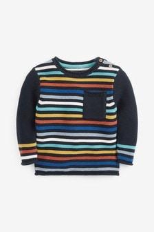 Navy Rainbow Stripe Knitted Jumper (3mths-7yrs)