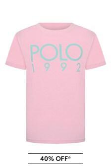 Boys Pink Cotton Jersey Polo T-Shirt