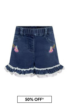 Baby Girls Blue Cotton Shorts