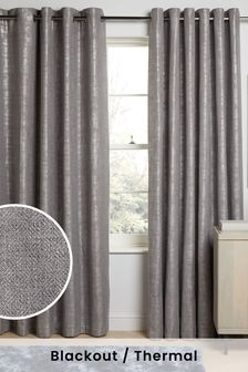 Metallic Woven Geo Eyelet Blackout/Thermal Curtains