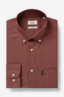 Brick Slim Fit Single Cuff Easy Iron Button Down Oxford Shirt