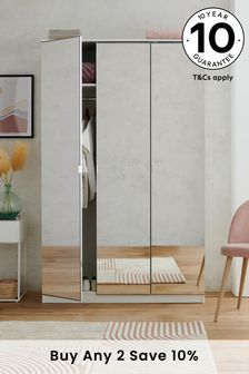 Mirrored Flynn Triple Wardrobe