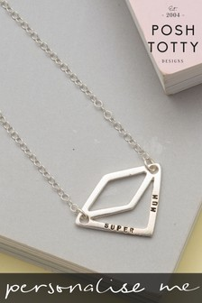 Personalised Diamond Geometric Necklace by Posh Totty Designs